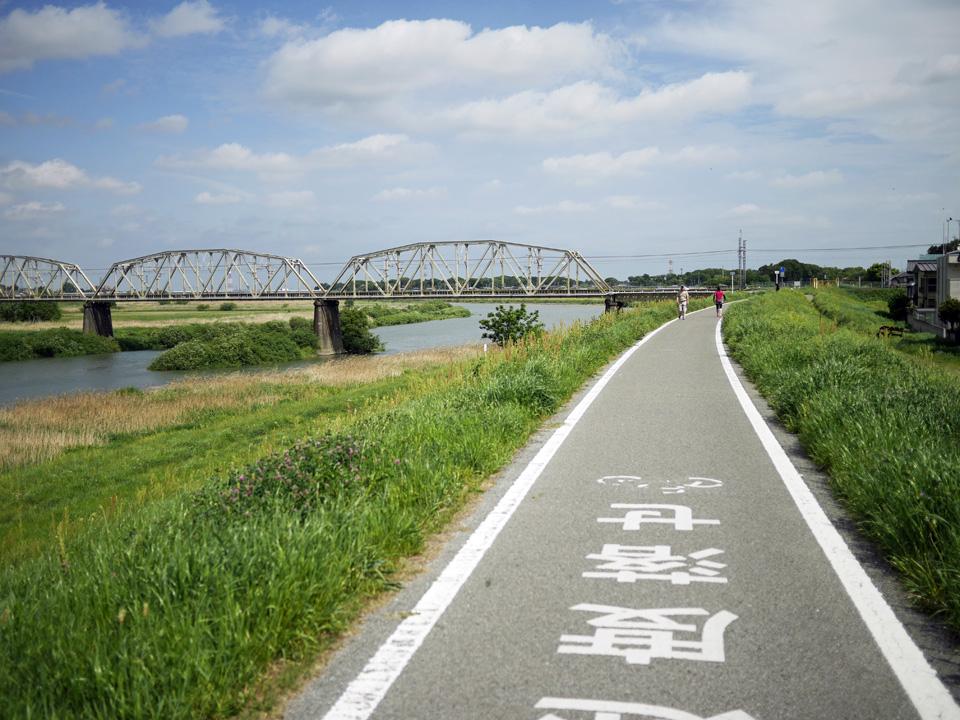 東武野田線の鉄橋が見えてきた