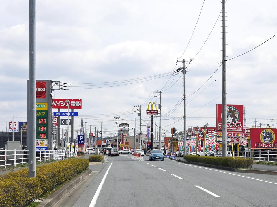 佐倉市中心部の手前に広がるベイシアモール