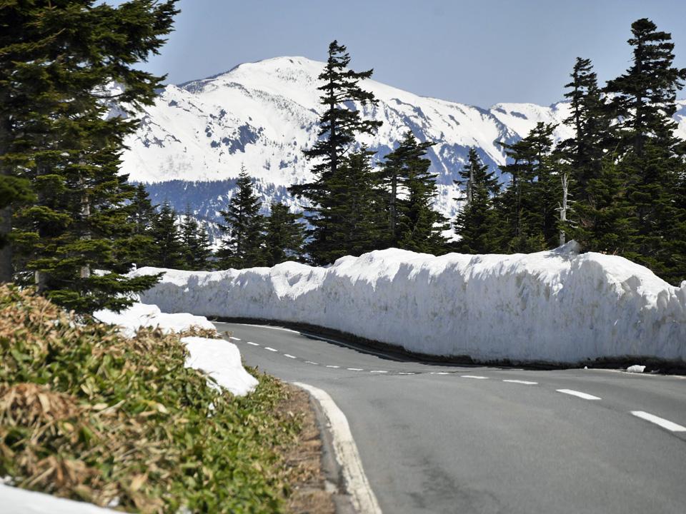 渋峠まで最後の直線の先に見える横手山