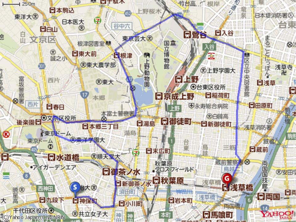 本郷台地ヒルクライムのルートマップ