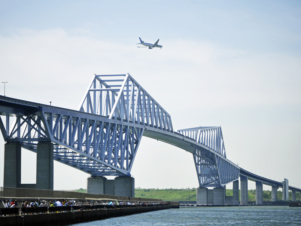 東京ゲートブリッジとジャンボジェット機