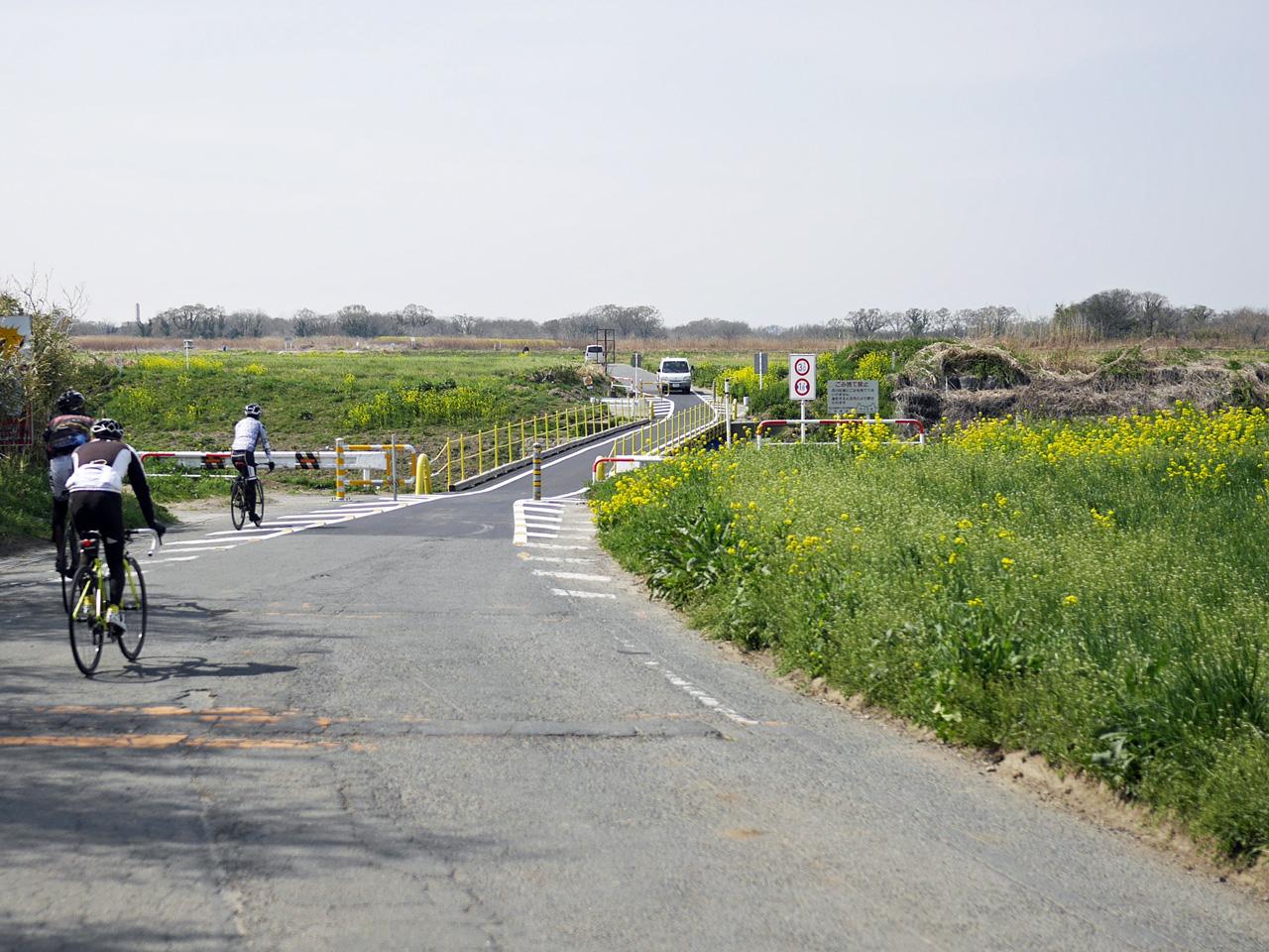 樋詰橋で荒川を渡って右岸の荒川サイクリングロードへ